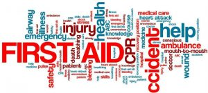 Image of words related to first aid for the family first aid event at windhill community centre.